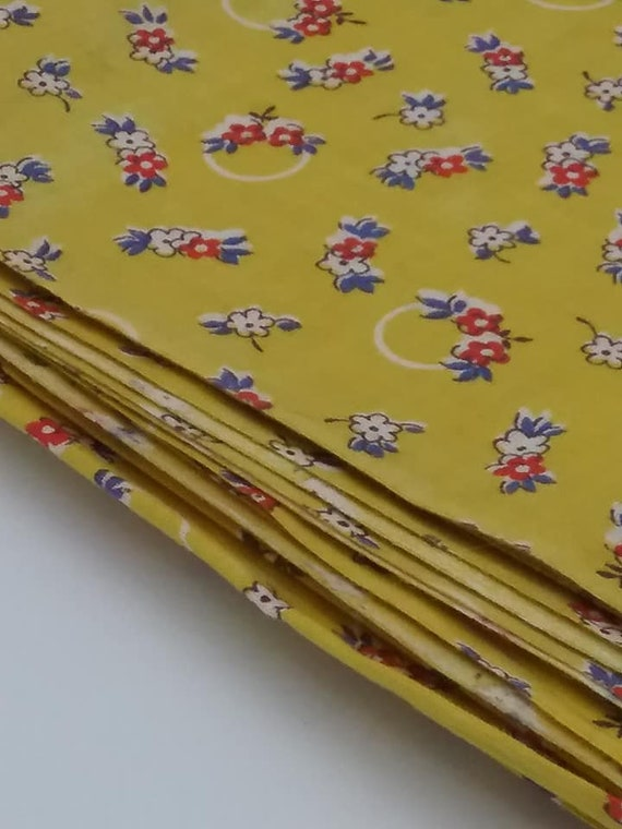 Retro Cotton Fabric, Yellow-gold with Simple Floral, MCM Style