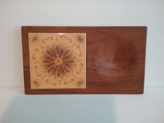 Mid-century Modern Cheese Board, Wood with Orange Tile