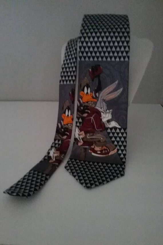 Men's Vintage Looney Tunes Tie, Bugs Bunny and Daffy Duck