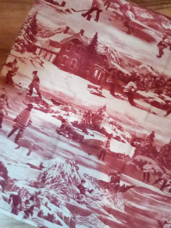 2 Yards Cotton Novelty Fabric, Hockey Print Fabric, Hometown Hockey Collection, Northcott Red Ice Hockey Theme
