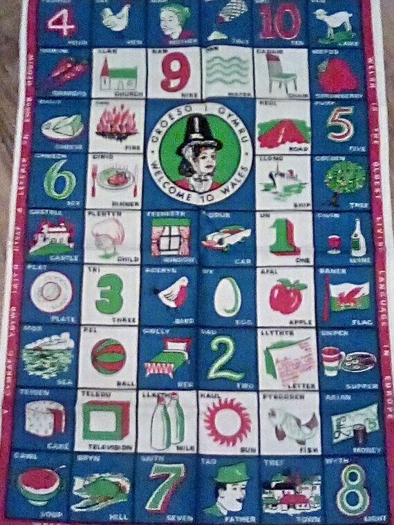Rare Vintage Welsh Language Cotton Tea Towel, Welcome to Wales Souvenir Towel, Oldest Living Language Fabric Poster