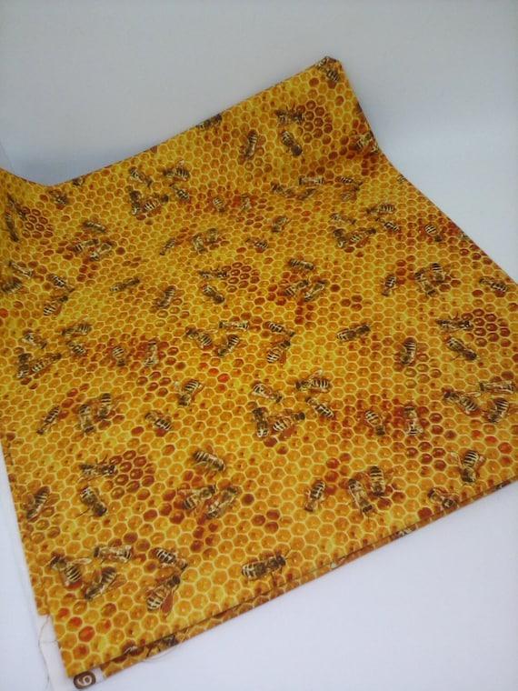 1 Yard Honey Bees Cotton Novelty Fabric, Honey Bees Print,  Busy Honeybees Cotton Fabric