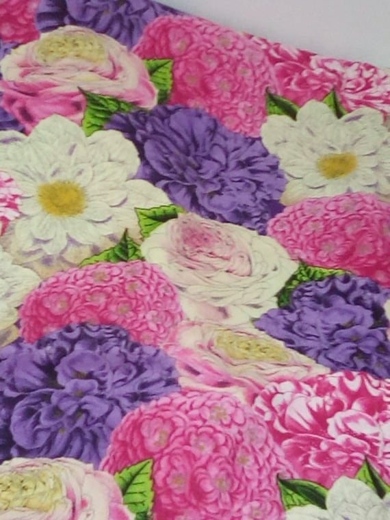 1 Meter Floral Cotton Fabric, Flowers in Pinks and Purples, Packed Flowers Print Fabric