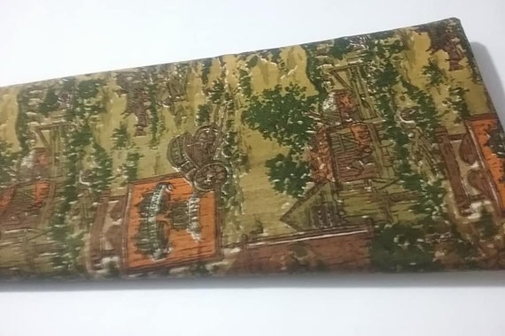 Vintage Material, Scotchguard Fabric, Larelda Collection Fabric, 1.5 Yards,  Brown and Green, Pubs and Inns,