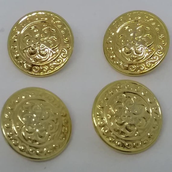 4 Vintage Gold Sewing Buttons,