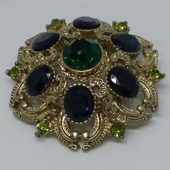 Signed Green and Blue Rhinestone Vintage Brooch