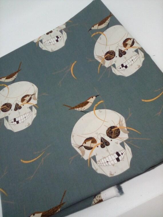1 Yard Organic Cotton Novelty Fabric, Skulls With Nesting Birds, Skulls Material, Goth Glam