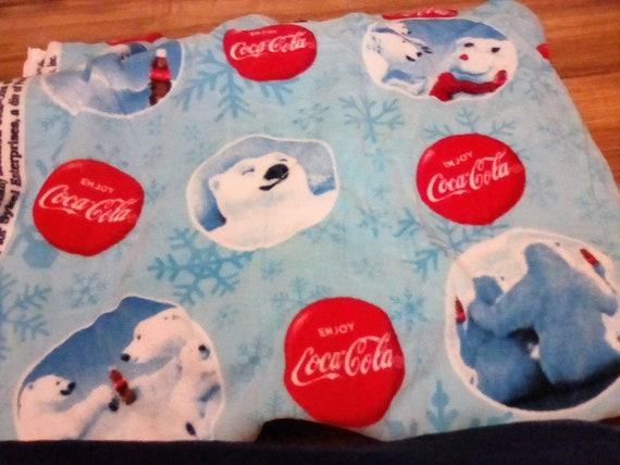 4 Yards Licensed Coca cola Fabric, Novelty Fleece Material, Coca Cola Bears Fleece