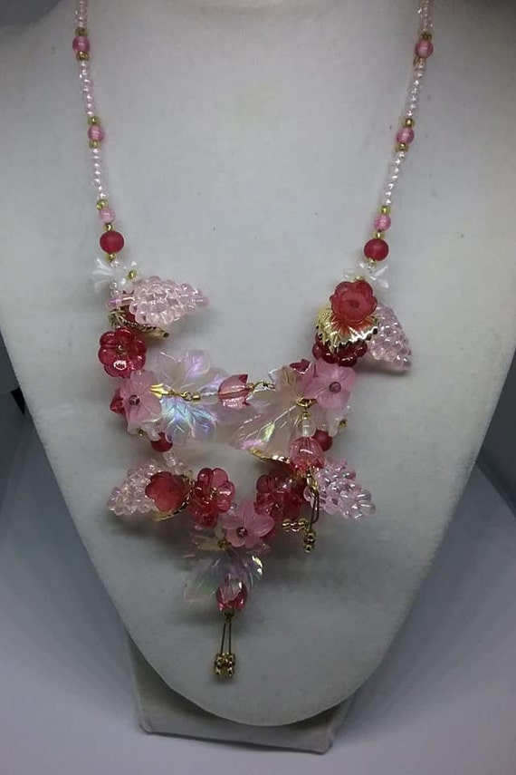 Vintage Fruit Salad Plastic Necklace, Pink and Red