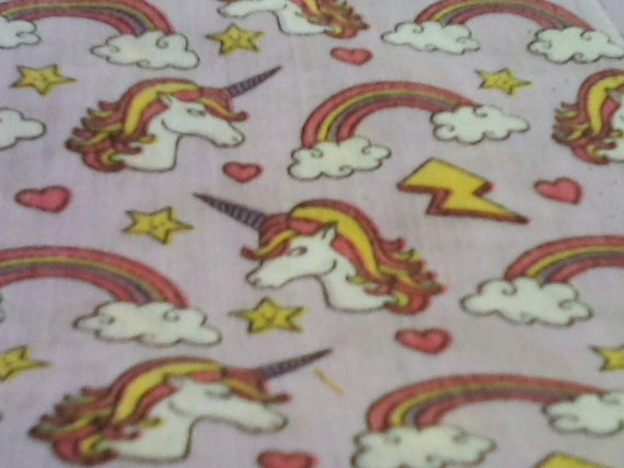 2 Yards Novelty Cotton Fabric, Unicorns and Rainbows Material, Quilting Cotton Novelty Fabric