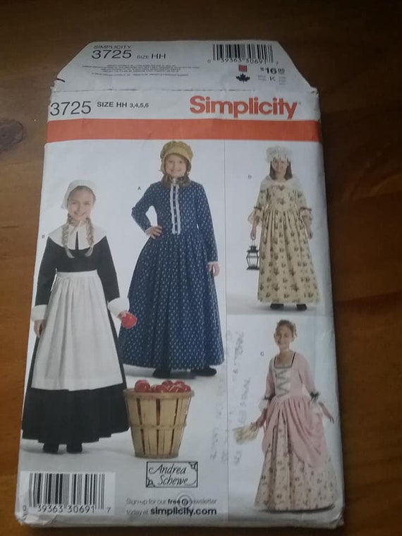 Simplicity 3725, Youth Pilgrim Costume Sewing Pattern