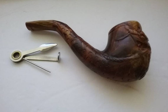 Vintage Wood Carved  Tobacco Pipe, Case and Accessory