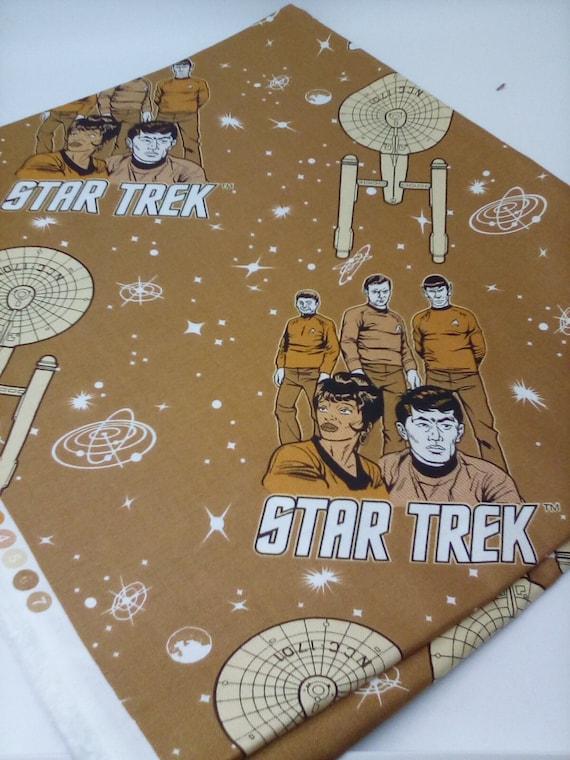 1 Yard Star Trek Cotton Novelty Fabric, Star Trek Licensed Fabric, Star Trek Theme Cotton Fabric