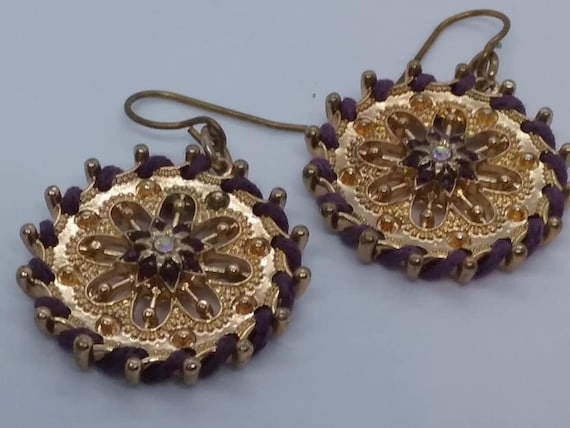 Vintage Dangle Earrings, Gold Tone and Rhinestones
