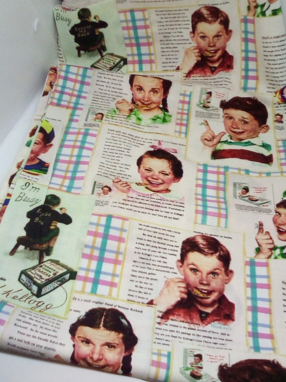 2 Yards Licensed Kellogg Kids Vintage Print, Novelty Cotton Fabric, Vintage Kellogg Cereal Print Material