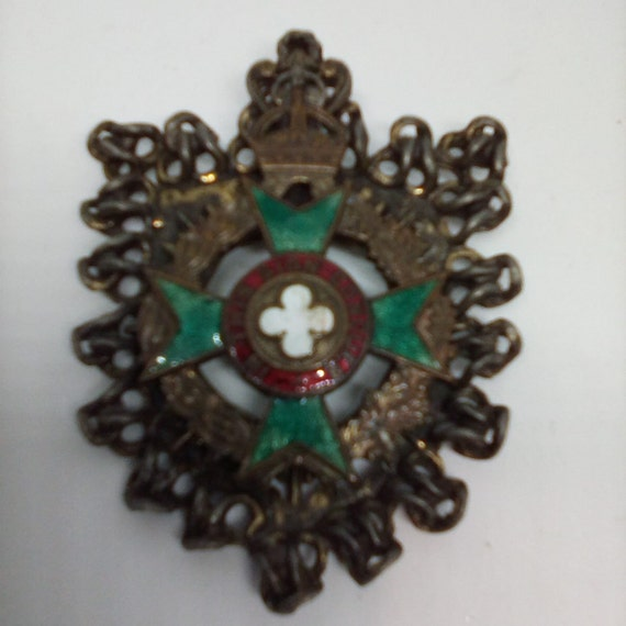 Vintage Brooch or Pendant, Heraldic Metal Pin or Pendant, Maltese Cross, In This Sign Conquer