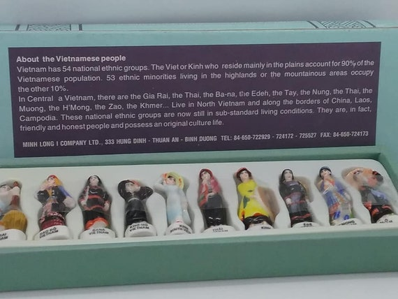 Vintage Collectible Porcelain Figures, 10 MIHN LONG Porcelain Vietnam Ethnic Group
