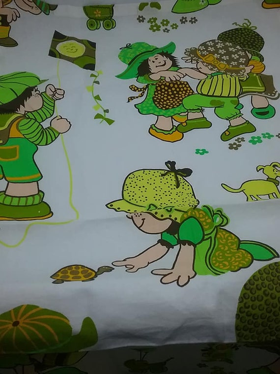 Vintage Children's Fabric Remnant, Cotton Material in Green and White, 1 Yard Children at Play Fabric