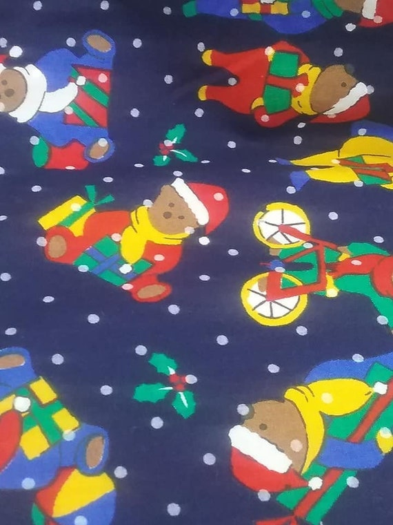 1+ Yards Cotton Christmas Fabric, Christmas Bear Fabric, Teddy Bear Christmas Material