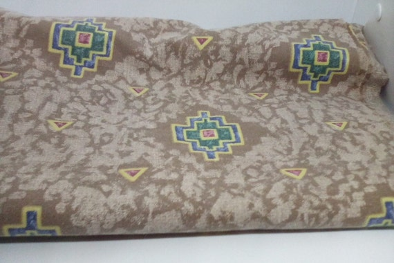 2 Yards Cotton Fabric,  Tribal Feel Print Cotton Material, Green and Beige Fabric