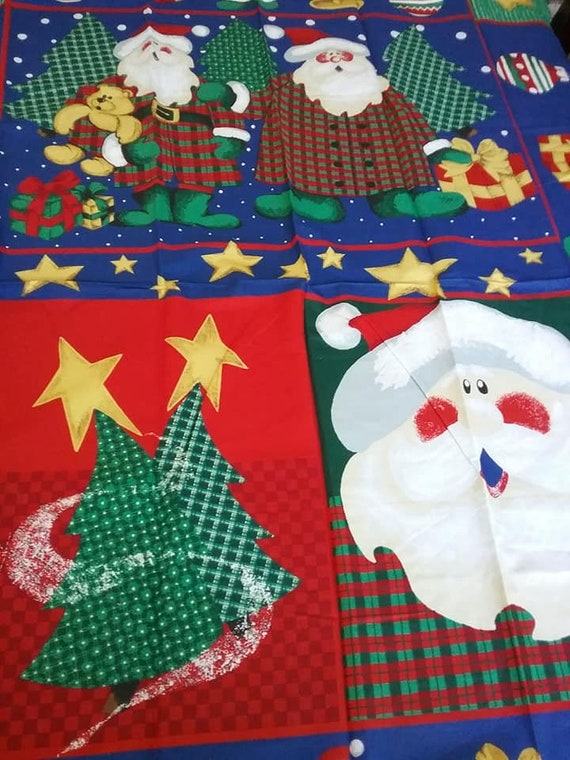 Christmas Material, Vintage 90's Santa in Country Plaid, Quilt or Sewing Panel, Wall Hangings