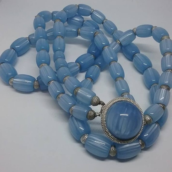 Vintage Trifari Necklace, Blue Moon glow Beads, Signed
