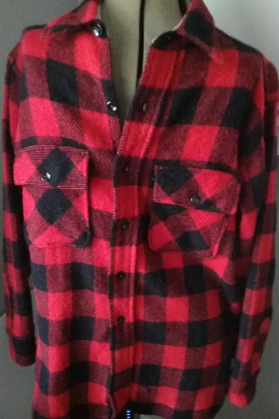 Buffalo Plaid Wool Shirt, Vintage Red and Black Plaid Pilgrim Jacket, Men's Pilgrim Buffalo Plaid Work Shirt,  Red and Black Buffalo Jacket