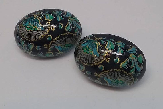 Cloisonne Enamel Earrings, Enamel Cloisonne Earrings, Enamel Cloisonne Black and Turquoise Earrings, Vintage Cloisonne Earrings