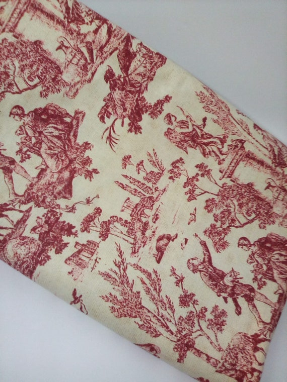 5 Yards Red and Yellow Toile,  Victorian Revival Toile, English Country Side Toile