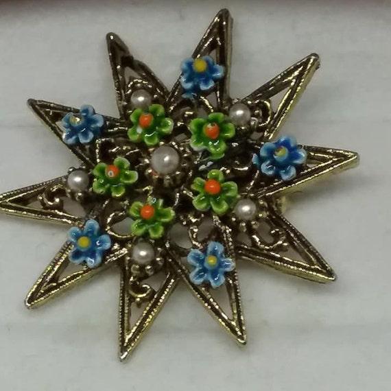 Vintage Micro Enamel Floral Brooch, Star