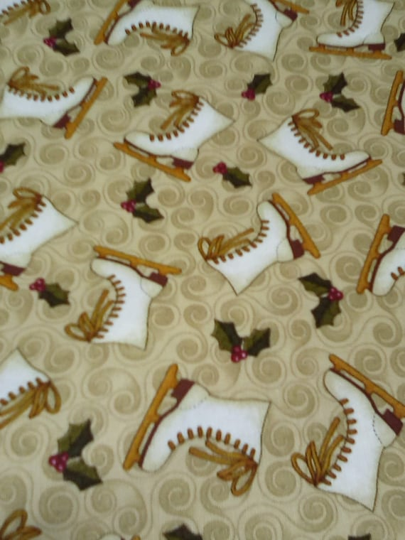 2 Yards Cotton Winter Novelty, Skates Fun Flannel, Figure Skates Print, Christmas Novelty Fabric