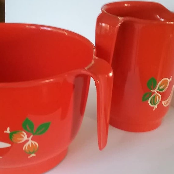 Mid-Century Mod Red Kitchen Ware, West Germany EMSA Plastic