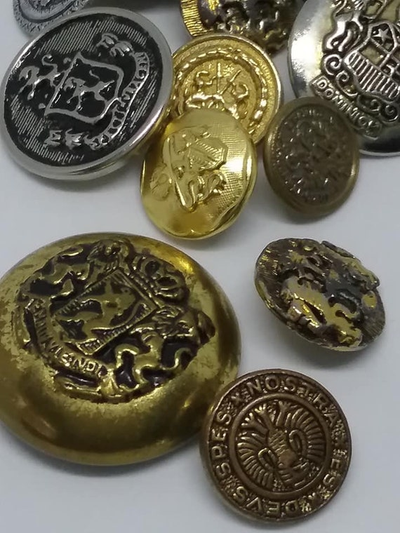 Vintage Crest Buttons, Mixed Metal