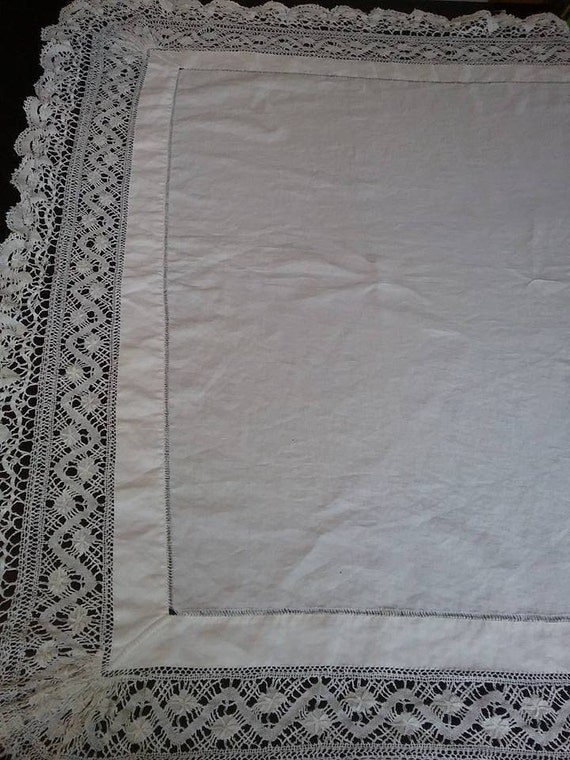 Vintage White Cotton and Lace, Monogram Tablecloth,