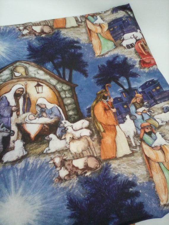 1 Yard Cotton Fabric, Christmas Nativity Print, Blessed Birth  of Jesus Christ Fabric, Nativity Stable Theme Fabric
