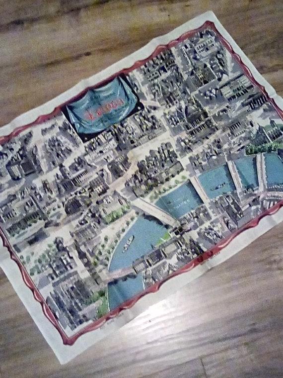 Linen Towel London Landmarks Souvenir, Vintage Kitchen Tea Towel from England London Landmarks
