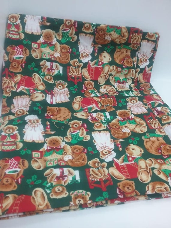 Christmas Material, Teddy Bears, Green Remnant, 1+ Yard Fabric