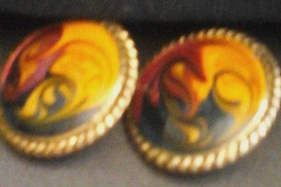 Vintage Pierced Earrings, Colorful Hand-painted Vintage Metal Earrings, Vintage Earrings, Vintage Hand-painted Earrings