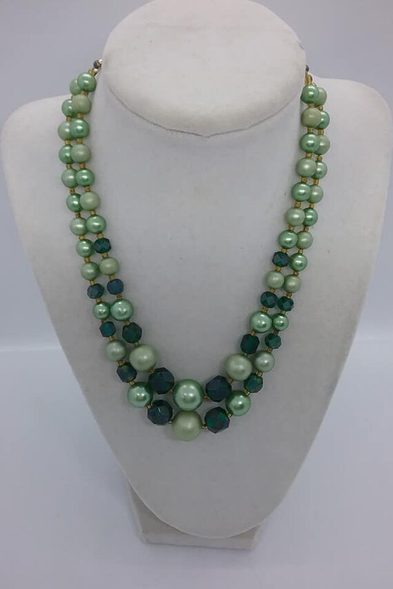 Double Strand Green Lucite and Glass Bead Choker, Japan