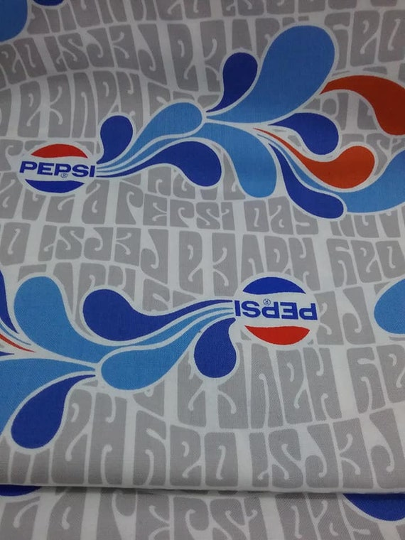 Mid-Century Mod Style Pepsi Materal, 3 Yards Fabric