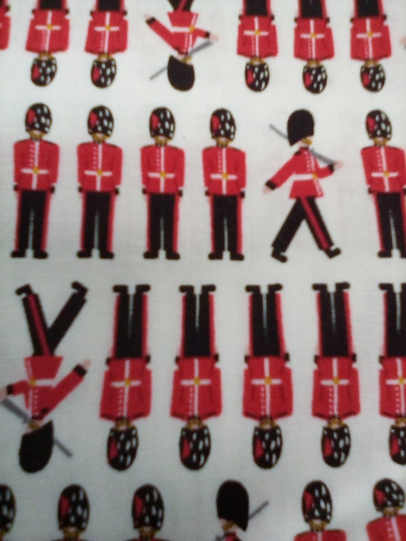 1 Yard Cotton Novelty Fabric, Britannia Soldiers, Material Novelty British Fabric