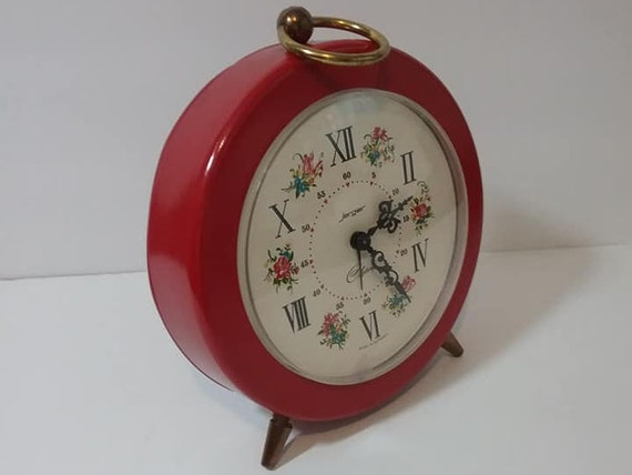 Vintage Jerger Red Alarm Clock 1970's