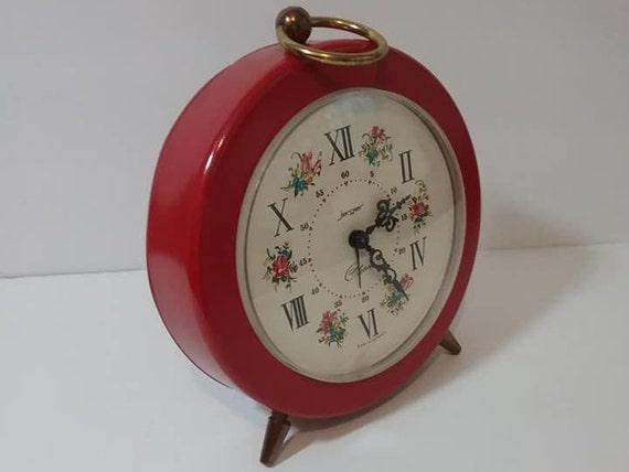 Vintage Jerger Red Alarm Clock 1970's