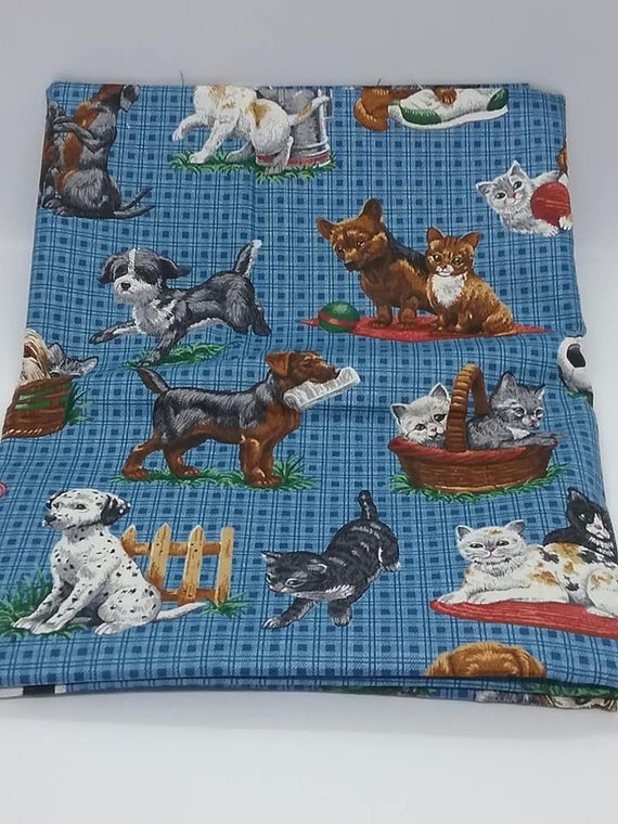 1+ Yard Novelty Material, Playful Puppies and Kittens, Cotton Blue Check Fabric