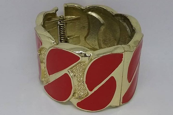 80s Chunky Bangle, Hinged Retro Cuff, Retro Red Chunky Bangle, Retro Red Cuff, Retro Hinged Cuff, Red and Gold Cuff, Enamel Cuff, Red Enamel