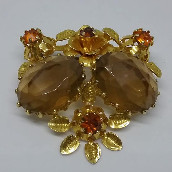 Vintage Austrian Art Glass Rhinestone Brooch, Brown and Amber
