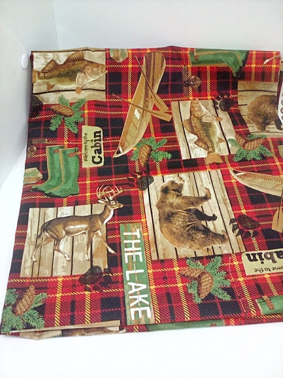1 Yard Lake House Plaid Novelty Fabric, Canadian Lake Theme, Cabin and Wilderness Cotton Material