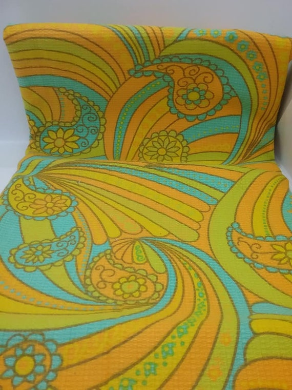 60's Retro Psychedelic Fabric, Groovy Orange, Yellow and Turquoise