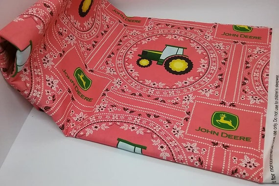 Novelty Material, John Deere Licensed Fabric, Cotton, Pink Bandana Print, Tractor Theme