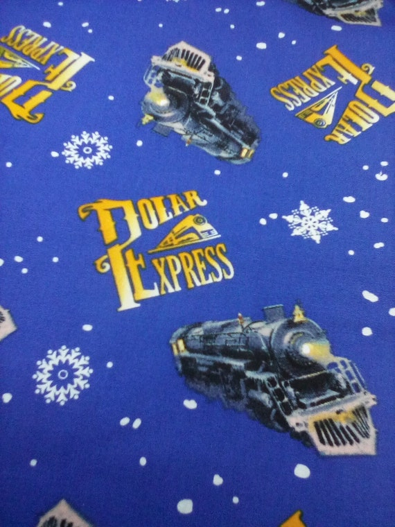 1 Yard 100% Cotton Novelty Fabric, Polar Express Licensed by Warner Brothers,  Christmas Polar Express Cotton Material